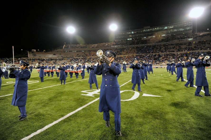 The Air Force Academy Drum and Bugle Corps performs during halftime of the Air Force-New Mexico game at Falcon Stadium Nov. 13, 2010. The Falcons, 7-4 and 4-3 in the Mountain West Conference, travel to UNLV Nov. 18 for their final game of the regular season. (U.S. Air Force photo/Mike Kaplan)