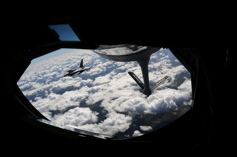A U.S. Air Force F-16 Fighting Falcon from the 140th Fighter Wing, Buckley, Colo., approaches the boom of a KC-135 Stratotanker from the 161st Air Refueling Wing, Phoenix, Ariz., November 12, 2010, near Natal, Brazil. Both wings are participating CRUZEX V, or Cruzeiro Do Sul (Southern Cross).  CRUZEX is a multi-national combined exercise involving the Air Forces of Argentina, Brazil, Chile, France and Uruguay, and observers from numerous other countries with more than 82 aircraft and almost 3,000 Airmen involved.  U.S. Air Force Photo by Master Sgt. Kelly M. Deitloff