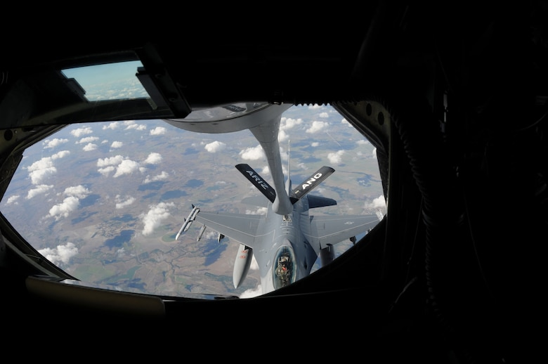 A Chilean F-16 receives fuel from a KC-135 Stratotanker from the 161st Air Refueling Wing, Phoenix, Ariz., November 12, 2010, near Natal, Brazil. The 161st ARW is participating CRUZEX V, or Cruzeiro Do Sul (Southern Cross).  CRUZEX is a multi-national combined exercise involving the Air Forces of Argentina, Brazil, Chile, France and Uruguay, and observers from numerous other countries with more than 82 aircraft and almost 3,000 Airmen involved.  U.S. Air Force Photo by Master Sgt. Kelly M. Deitloff