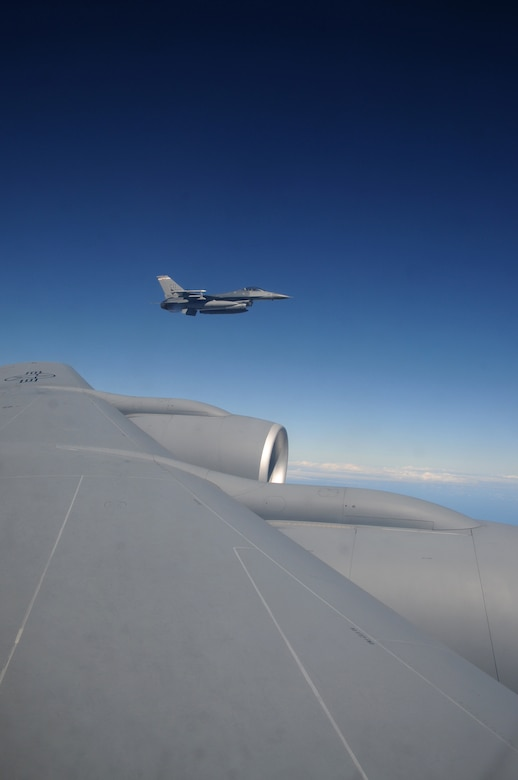 A U.S. Air Force F-16 Fighting Falcon from the 140th Fighter Wing, Buckley, Colo.,  flies off the wing  of a 161st Air Refueling Wing  KC-135 Stratotanker during a CRUZEX exercise on November 12, 2010 over Brazil. The 161st ARW Both wings are participating in CRUZEX V, or Cruzeiro Do Sul (Southern Cross).  CRUZEX  is a multi-national combined exercise involving the Air Forces of Argentina, Brazil, Chile, France and Uruguay, and observers from numerous other countries with more than 82 aircraft and almost 3,000 Airmen involved.  U.S. Air Force Photo by Master Sgt. Kelly M. Deitloff