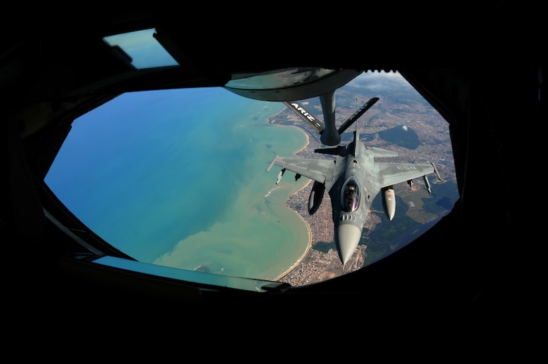 A Chilean F-16 approaches the boom of a KC-135 Stratotanker from the 161st Air Refueling Wing, Phoenix, Ariz., November 12, 2010, near Natal, Brazil. The 161st ARW is participating CRUZEX V, or Cruzeiro Do Sul (Southern Cross).  CRUZEX is a multi-national combined exercise involving the Air Forces of Argentina, Brazil, Chile, France and Uruguay, and observers from numerous other countries with more than 82 aircraft and almost 3,000 Airmen involved.  U.S. Air Force Photo by Master Sgt. Kelly M. Deitloff