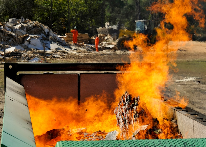 Workers From InDyne Watch As Particle Board Waste Burns In The 46th Test  Wingu0027s New Waste