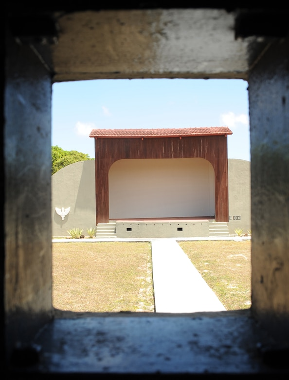 """Looking out from the recently restored outdoor projection room at Natal Air Base, Brazil is the base's outdoor theater. The theater was used to showcase USO tours and to show movies to troops stationed and transiting through Natal Air Base during World War II. The base was nicknamed """"Trampoline to Victory"""" during World War II because it was used as a """"jumping off"""" point for U.S. aircraft before entering African and European theaters. The base is located on the eastern most point of South America. American servicemembers are once again stationed on the base as they participate in CRUZEX V. CRUZEX V, or Cruzeiro Do Sul (Southern Cross), is a multi-national combined exercise involving the Air Forces of Argentina, Brazil, Chile, France and Uruguay, and observers from numerous other countries with more than 82 aircraft and almost 3,000 Airmen involved. (U.S. Air Force photo/Staff Sgt. Michael Matkin)"""
