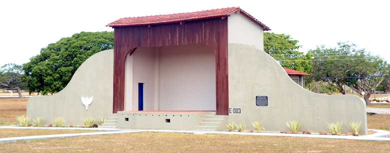"""Recently restored, this outdoor theater was used to showcase USO tours and to show movies to troops stationed and transiting through Natal Air Base, Brazil during World War II. The base was nicknamed """"Trampoline to Victory"""" during World War II because it was used as a """"jumping off"""" point for U.S. aircraft before entering African and European theaters. The base is located on the eastern most point of South America. American servicemembers are once again stationed on the base as they participate in CRUZEX V. CRUZEX V, or Cruzeiro Do Sul (Southern Cross), is a multi-national combined exercise involving the Air Forces of Argentina, Brazil, Chile, France and Uruguay, and observers from numerous other countries with more than 82 aircraft and almost 3,000 Airmen involved. (U.S. Air Force photo/Staff Sgt. Michael Matkin)"""