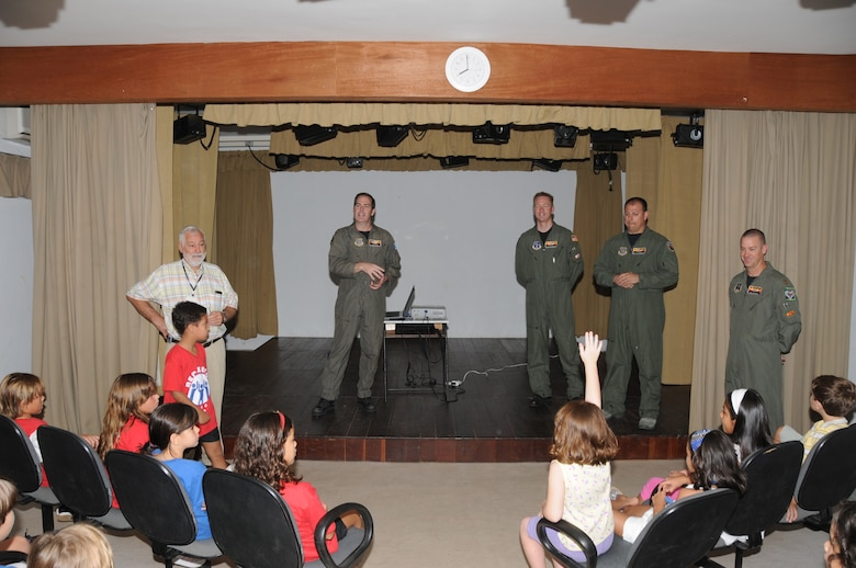 Members of the 161st Air Refueling Wing, Phoenix, Ariz., talk with students from the American School of Recife on November 17, 2010, in Recife, Brazil, building community relations during CRUZEX V. The 161st ARW is participating in CRUZEX V, or Cruzeiro Do Sul (Southern Cross).  CRUZEX  is a multi-national combined exercise involving the Air Forces of Argentina, Brazil, Chile, France and Uruguay, and observers from numerous other countries with more than 82 aircraft and almost 3,000 Airmen involved.U.S. Air Force Photo by Master Sgt. Kelly Deitloff