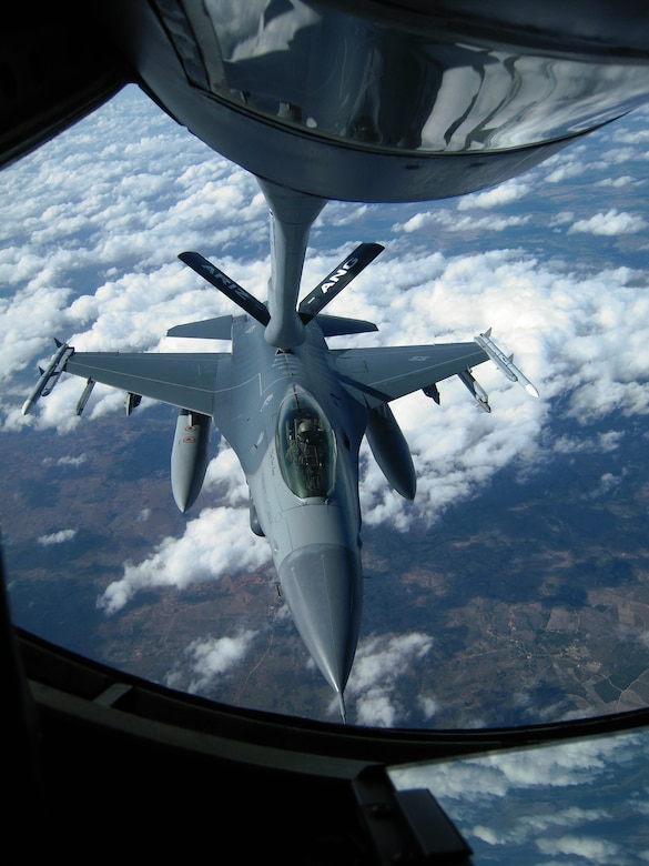 A U.S. Air Force F-16 Fighting Falcon from the 140th Fighter Wing, Buckley, Colo., receives fuel from a KC-135 Stratotanker from the 161st Air Refueling Wing, Phoenix, Ariz., November 15, 2010, over Brazil. Both wings are participating CRUZEX V, or Cruzeiro Do Sul (Southern Cross).  CRUZEX is a multi-national combined exercise involving the Air Forces of Argentina, Brazil, Chile, France and Uruguay, and observers from numerous other countries with more than 82 aircraft and almost 3,000 Airmen involved.  U.S. Air Force Photo by Master Sgt. Kelly M. Deitloff