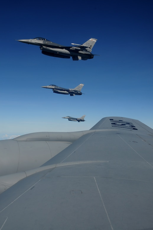 Three F-16 Fighting Falcons from the 140th Fighter Wing, Buckley, Colo., maintain their position as they wait for the last aircraft of their four-ship formation to refuel during CRUZEX November 15, 2010. The 140th Fighter Wing is participating in CRUZEX V, or Cruzeiro Do Sul (Southern Cross).  CRUZEX  is a multi-national combined exercise involving the Air Forces of Argentina, Brazil, Chile, France and Uruguay, and observers from numerous other countries with more than 82 aircraft and almost 3,000 Airmen involved. U.S. Air Force Photo by Master Sgt. Kelly Deitloff