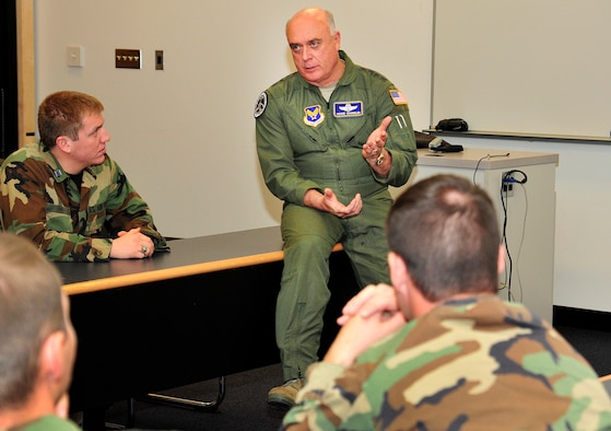 "Air Force Vice Chief of Staff Gen. Carrol H. ""Howie"" Chandler speaks with first-class cadets at the Air Force Academy during an informal session in Fairchild Hall on Nov. 12, 2010. General Chandler is a 1974 graduate of the Academy. (U.S. Air Force photo/Bill Evans)"