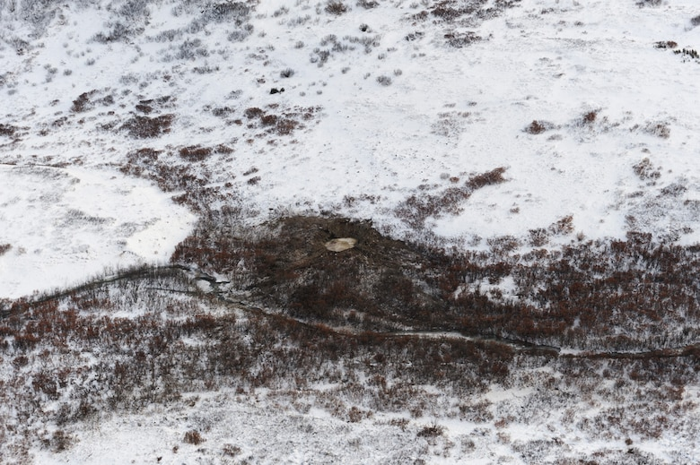 November 17, 2010 - Aerial view of the F-22 crash site located approximately 100 miles north of Anchorage, Alaska.