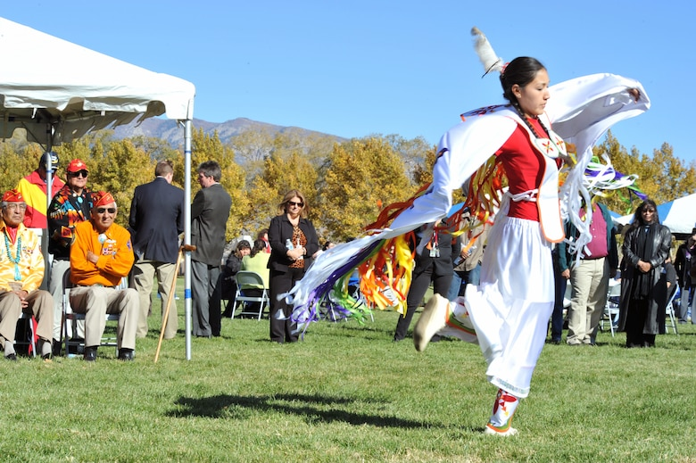 Alilee Bah Church, performs a traditional Native American butterfly dance during a ceremony Nov. 10, 2010, at Kirtland Air Force Base, N.M., honoring veterans and celebrating Native American Heritage Month. (U.S. Air Force photo)
