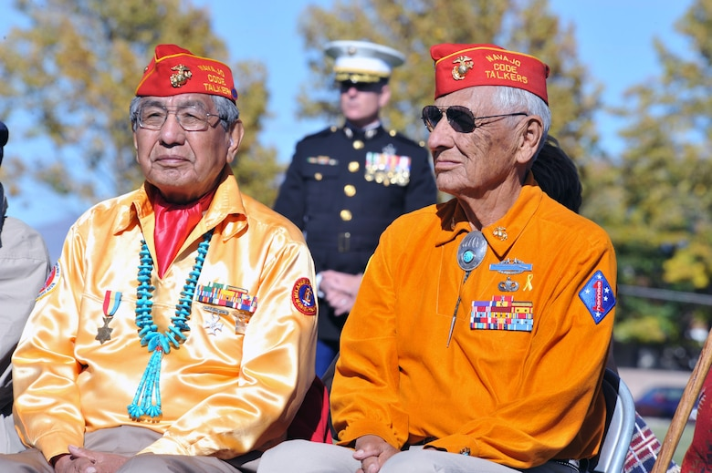 Navajo Code Talkers Peter Macdonald (left) and Roy Hawthorne participated in a ceremony Nov. 10, 2010, at Kirtland Air Force Base, N.M. to pay tribute to veterans and to celebrate Native American Heritage Month. (U.S. Air Force photo)