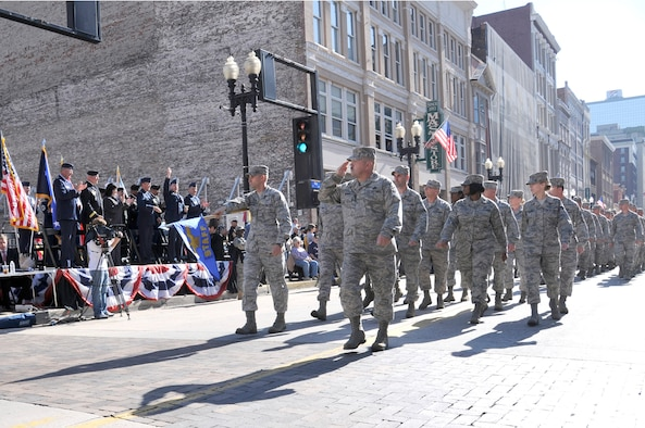 KNOXVILLE, Tenn. - Members of The I.G. Brown Air National Guard Training and Education Center at McGhee Tyson Air National Guard Base here march in the 85th annual Veteran's Day parade in downtown Knoxville, Nov 11, 2010. Gen. Craig R. McKinley, chief of the National Guard Bureau, and military leaders from Tennessee watch from the reviewing stand. (U.S. Air Force photo by Master Sgt. Kurt Skoglund/Released)