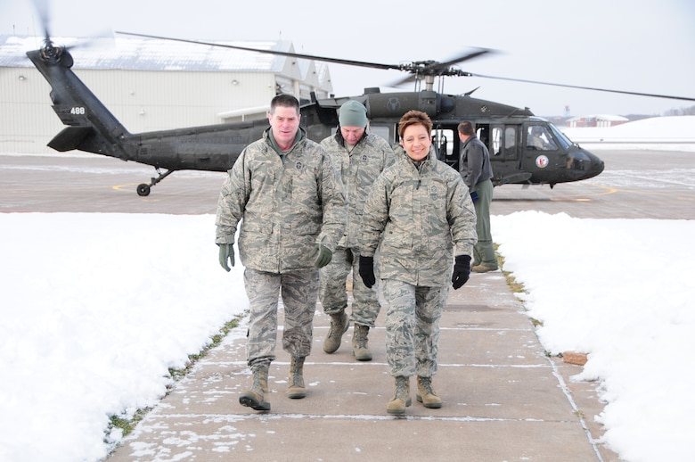 National Guard Bureau Command Chief Master Sgt. Denise Jelinski-Hall arrives at the 148th Fighter Wing on Nov. 20, 2010 in Duluth, Minn.  Chief Master Sgt. Denise Jelinski Hall came to the 148th FW to host an Airmens Call where she covered subjects such as suicide prevention and the importance family, friends and civilian employers have to the Naional Guard mission.  (U.S. Air Force photo by Staff Sgt. Donald Acton)