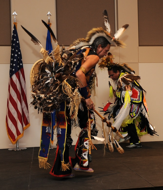 Buckley Air Force Base, Colo.-  Dancers from the Denver Indian Center,  representing both Northern and Southern Lakota Sioux tribe and Eastern Shawnee tribe performed the Southern Straight Dance.   ( U.S. Air Force Photo by Airman 1st Class Marcy Glass )