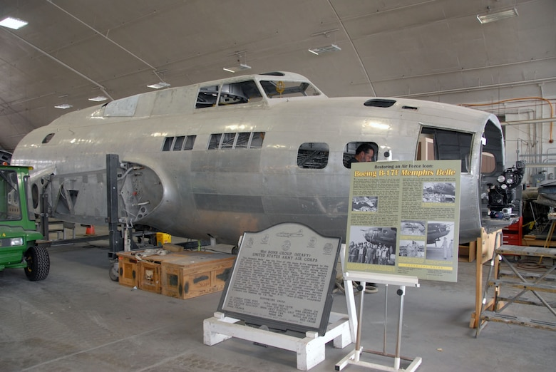 "DAYTON, Ohio (11/2010) -- Boeing B-17F ""Memphis Belle"" in restoration at the National Museum of the U.S. Air Force. (U.S. Air Force photo)"