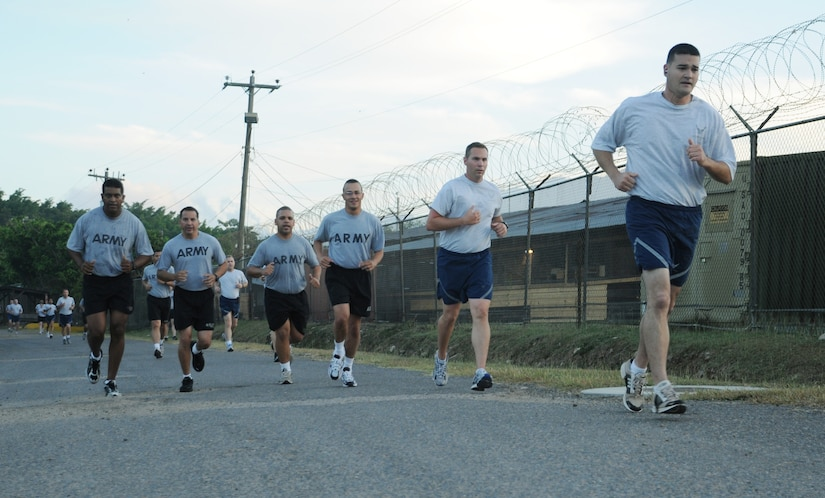 SOTO CANO AIR BASE, Honduras --  Team Bravo members, who represent all four branches of the military, participate in the Turkey Trot here Nov. 22. The run was sponsored by the base Morale, Welfare and Recreation office. (U.S. Air Force photo/Tech. Sgt. Benjamin Rojek)