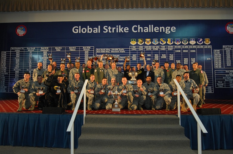The 509th Bomb Wing from Whiteman Air Force Base, Mo., was awarded the Fairchild Trophy for best bombardment wing during the Global Strike Challenge score posting events at Barksdale Air Force Base, La., Nov. 17. The trophy is named after Gen. Muir S. Fairchild, former U.S. Air Force Vice Chief of Staff, and is one of the competition's top two awards. For Global Strike Challenge, teams had mascots and spirit uniforms to show esprit de corps. (U.S. Air Force photo/Master Sergeant Corey A. Clements)