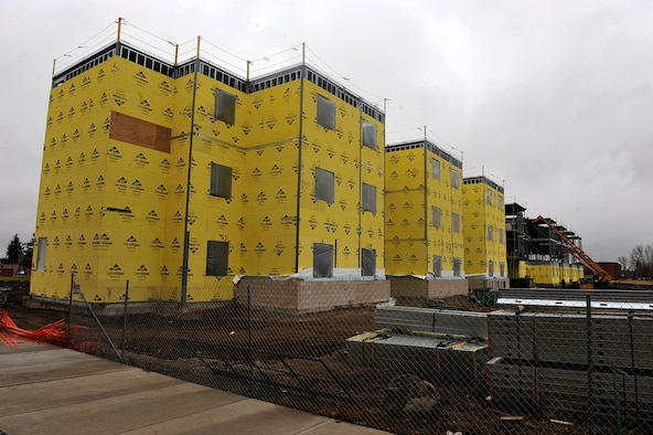MINOT AIR FORCE BASE, N.D. -- Construction of the new dormitory is well underway in the insulation process here Nov. 10. Construction projects like this help foster a better quality of life for Air Force Global Strike Command Airmen here. (U.S. Air Force photo/Senior Airman Michael J. Veloz)