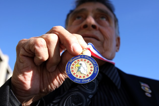 The Veterans Museum and Memorial Center of San Diego medal was presented to Angel Aviles, president of Military Officers Association of America Pendleton Chapter, Nov. 5, in acknowledgment of being selected as the 2010 Veteran of the Year for his outstanding and invaluable service to the community. Aviles has served this nation since 1953 as a soldier, a coast guardsman, a U.S. Custom Service Inspector and an Intelligence officer.