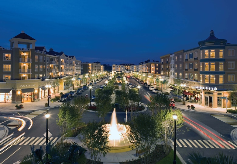 Redevelopment projects at the former Myrtle Beach AFB include the Market Common, an upscale urbane village offering shopping, dining and residences.