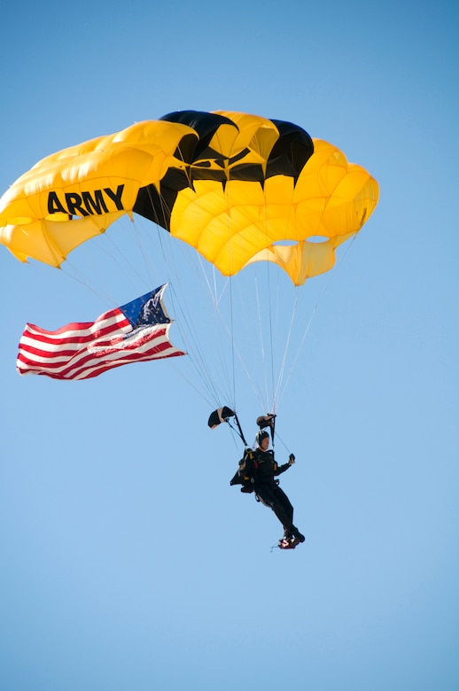A member of the U.S. Army Golden Knights Parachute Demonstration Team manuevers to show center during the opening ceremonies of the Thunder Over the Blue Ridge Open House and Air Show. The 167th Airlift Wing, West Virginia Air National Guard unit in Martinsburg, WV held an open house in conjunction with the Thunder Over the Blue Ridge Air Show on September 4 and 5, 2010. The U.S. Air Force Thunderbirds and the U.S. Army Golden Knights headlined the show. (U.S. Air Force photo by MSgt Emily Beightol-Deyerle)