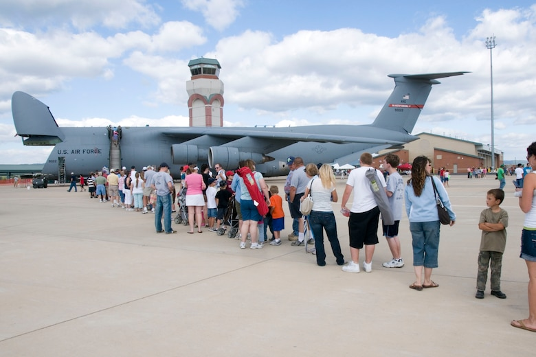 Air show spectators line up to get a look inside the C-5 Galaxy aircraft on display at the 167th Airlift Wings Open House. The 167th Airlift Wing, West Virginia Air National Guard unit in Martinsburg, WV held an open house in conjuction with the Thunder Over the Blue Ridge Air Show on September 4 and 5, 2010. The U.S. Air Force Thunderbirds and the U.S. Army Golden Knights headlined the show. (U.S. Air Force photo by MSgt Emily Beightol-Deyerle)