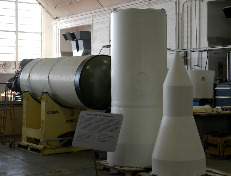 DAYTON Ohio -- The Minuteman I missile in the restoration hangar at the National Museum of the U.S. Air Force. (U.S. Air Force Photo)