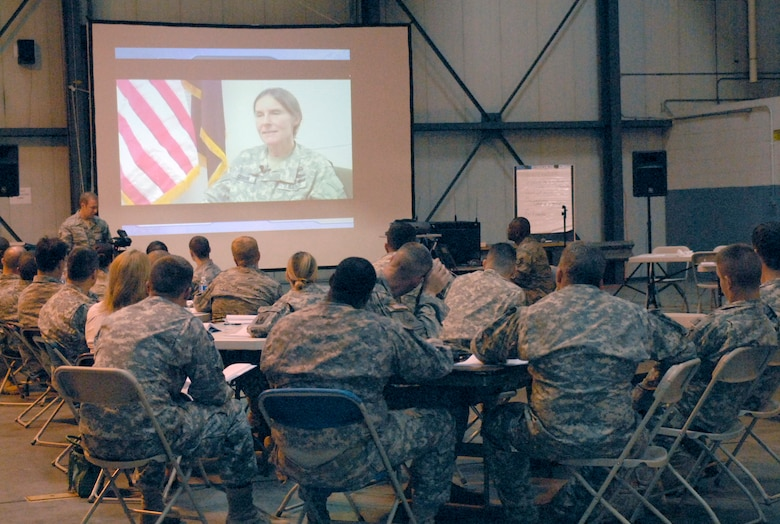 Members of the Connecticut National Guard watch a testimonial video during the Sept. 11, 2010 class of the Flash Forward Resiliency Program at Bradley Air National Guard Base in East Granby, Conn. The training prepares Airmen and Soldiers with life skills to combat different types of stressors. (U.S. Air Force photo by Tech. Sgt. Josh Mead)