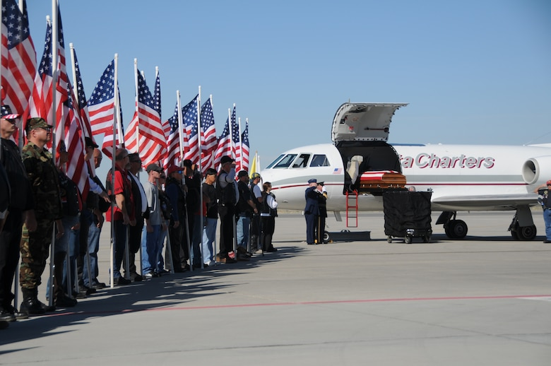 The body of Chief Warrant Officer 3 Matthew G. Wagstaff arrives at the Utah Air National Guard base in Salt Lake City, Utah, on October 3, 2010. CW3 Wagstaff was a UH-60 Blackhawk pilot who died in Afghanistan September 21. He was serving on his third deployment at the time. (U.S. Air Force photo by Master Sergeant Gary J. Rihn)(RELEASED)