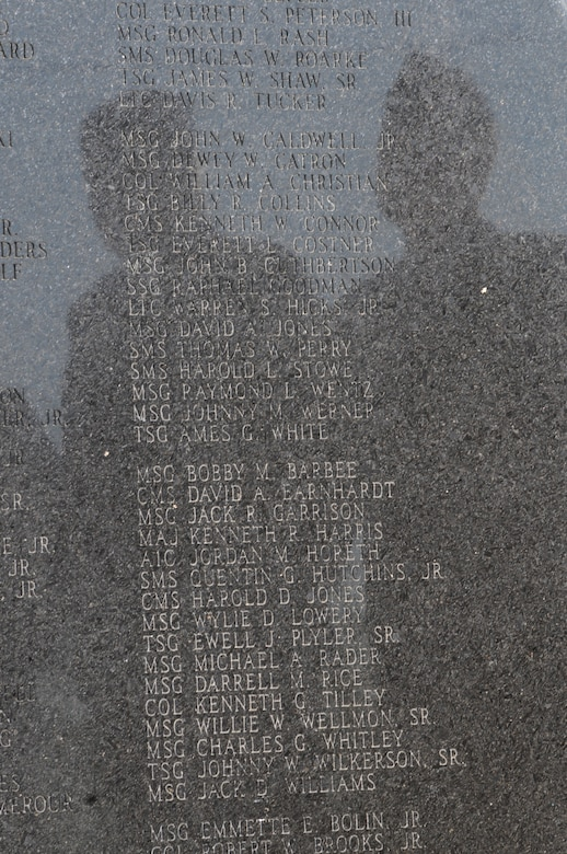 101003-F-7564C-018 Charlotte, N.C. -- The shadows of two airmen are reflected onto names of deceased airmen of the NC Air National Guard during an annual memorial service at the 145th Airlift Wing. (NCANG photo by Tech. Sgt. Brian E. Christiansen)
