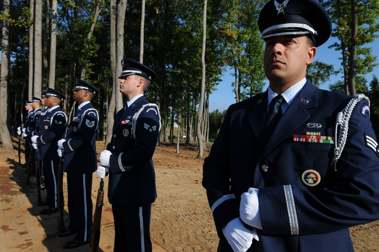 Charlotte, N.C. -- Airmen of the 145th Airlift Wing Honor Guard stand-by at the memorial service honoring North Carolina Air National Guardsmen deceased within the last year. (NCANG photo by Tech. Sgt. Brian E. Christiansen)