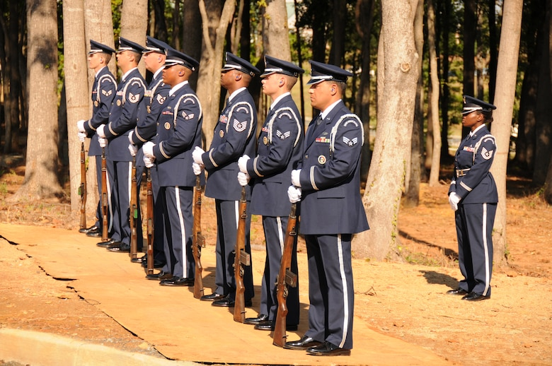 Charlotte, N.C. -- Airmen of the 145th Airlift Wing Honor Guard stand by at the memorial service honoring North Carolina Air National Guardsmen deceased in the last year. (NCANG photo by Tech. Sgt. Rich Kerner)