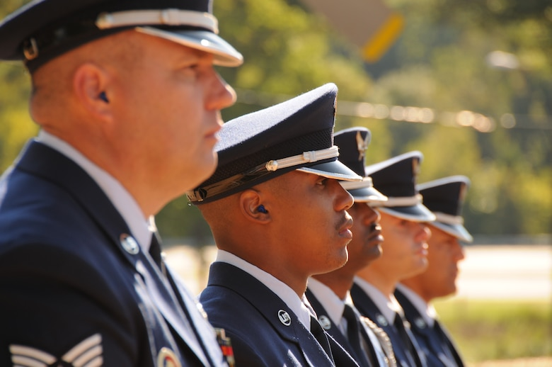 Charlotte, N.C. -- Airmen of the 145 Airlift Wing Honor Guard stand-by at the memorial service honoring North Carolina Air National Guardsmen deceased in the last year. (NCANG photo by Tech. Sgt. Rich Kerner)