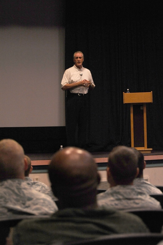 Pat Riley, Miami HEAT president, speaks to U.S. Air Force members at the Commando Auditorium during the team's 2010 Training Camp on Hurlburt Field, Fla., Sept. 29, 2010. Mr. Riley spoke to the Airmen about the importance of leadership. (DoD photo by U.S. Air Force Airman 1st Class Caitlin O'Neil-McKeown/RELEASED)