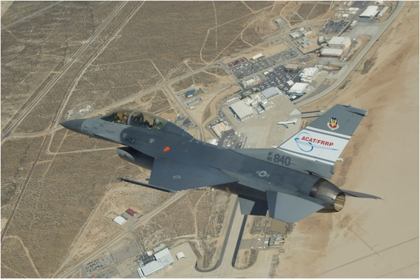 The ACAT/FRRP F-16 technology vehicle flies over Edwards AFB during a recent Automatic Ground Collision Avoidance System flight test.  This vehicle recently completed its 103rd flight, helping validate Auto GCAS and readying the technology for the planned integration into F-16 production aircraft in 2014.  (NASA photo)