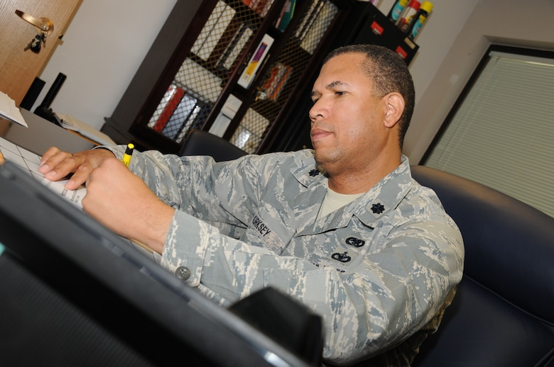 Lt. Col. Allen Kirksey, 161st Logistics and Readiness Squadron commander, engages in logistics paperwork similar to his tasks during a recent deployment where he orchestrated the return of fallen warriors. (U.S. Air Force Photo by Senior Airman Nicole Enos)