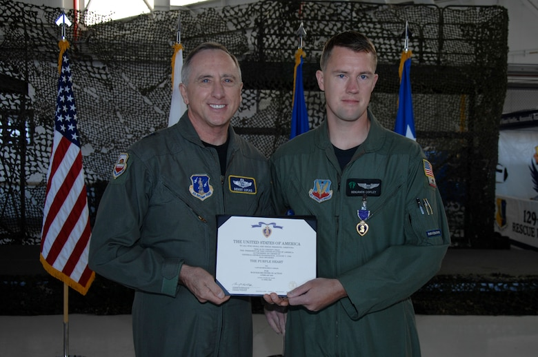 Capt. Benjamin Copley, an HH-60G Pave Hawk co-pilot, received the Badge of Military Merit, also known as the Purple Heart