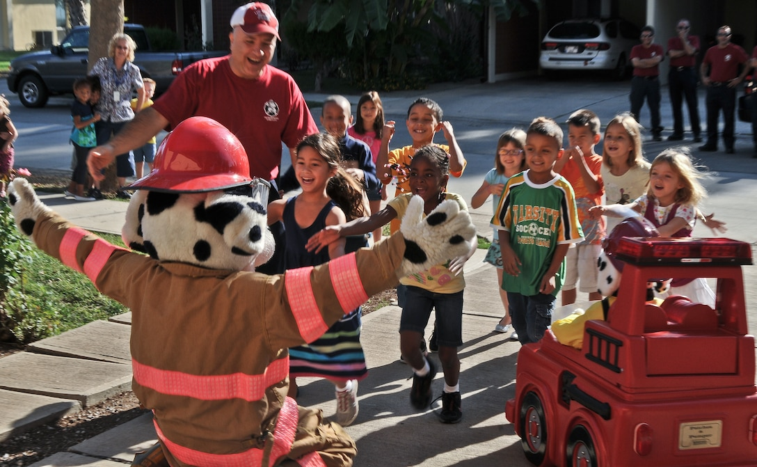 Sparky is the National Fire Protection Association mascot and has promoted fire safety to children for more than 60 years. This year's Fire Prevention Week is Oct. 7 through 13, and Incirlik residents can see Sparky and learn about fire safety Oct. 11, in the Falcon Housing area. (U.S. Air Force Photo/ Senior Airman Alexandre Montes/Released)