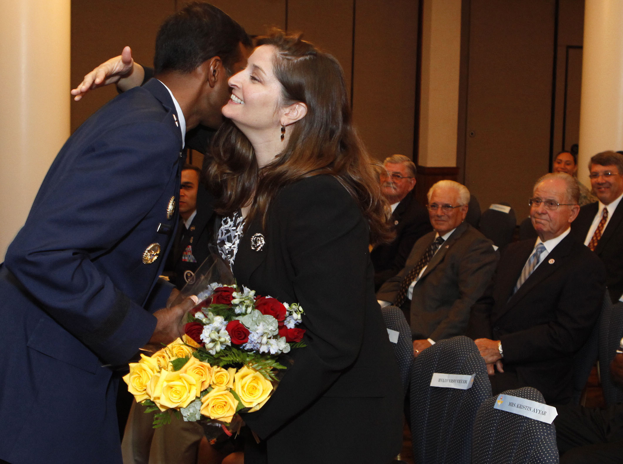 Air Force Recruiting Service Commander Brig Gen Balan R Ayyar Hugs His Wife
