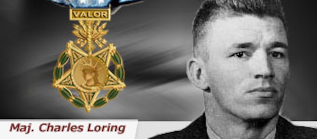 Maj. Charles J. Loring was hit repeatedly by ground fire during his dive while attacking enemy gun positions.  Instead of withdrawing, Major Loring aimed his F-80 Shooting Star directly at the gun positions and crashed into them, destroying them upon impact. Major Loring received the Medal of Honor for his sacrifice. (U.S. Air Force illustration)
