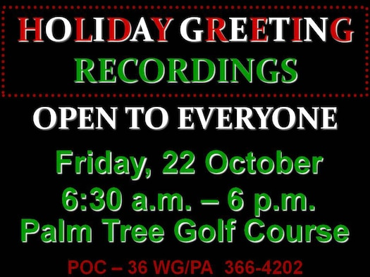 Holiday Greeting Recordings, 22 Oct.
