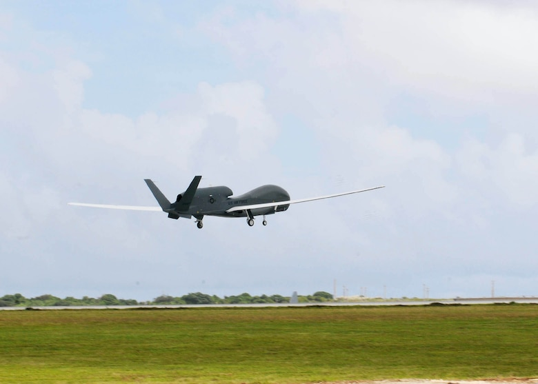 An RQ-4 Global Hawk takes off Oct. 7, 2010, from Andersen Air Force Base, Guam. This was its first take-off since its arrival Sept. 20, 2010 and it's the only permanently stationed aircraft on Andersen AFB. (U.S. Air Force photo/Senior Airman Nichelle Anderson)