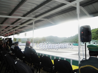 The Defense Institute for Medical Operations (DIMO) team members were invited to be special guests at the Trinidad and Tobago Regiment celebration of its 48th anniversary.  The team was in Chaguaramas, Trinidad and Tobago, to teach a combined Disaster Planning and Mass Casualty course, 19-23 July 2010.  (US Air Force Photo)