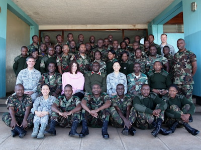 Class photo of Defense Institute for Medical Operations Operational Preventive Medicine in Support of Deploying Forces course; Lilongwe, Malawi, June 2010.  (US Air Force Photo)