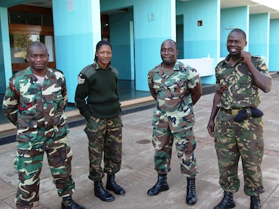 The Defense Institute for Medical Operations (DIMO) course for Operational Preventive Medicine in Support of Deploying Forces is taught over 5 days.  Here, Malawi Defence Force student take a break from the curriculum; Lilongwe, Malawi, June 2010.  (US Air Force Photo)