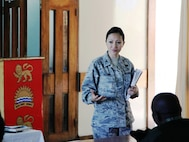 Colonel Mylene Huynh, opens the Defense Institute for Medical Operations (DIMO) course for Operational Preventive Medicine in Support of Deploying Forces, presented in Lilongwe, Malawi, June 2010.  DIMO cadre included three USAF preventive medicine physicians, one USAF bioenvironmental engineer and a civilian internal medicine physician with experience working on mental health and gender-based violence issues in Africa.  (US Air Force Photo)
