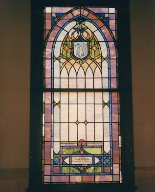 One of the eight stained glass windows at the Tinker Chapel is dedicated to the life of Maj. Gen. Clarence L. Tinker, who was killed in action in June 1942. (Courtesy photo)