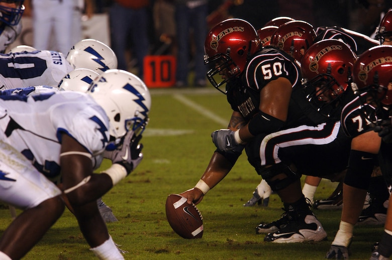 The Air Force Falcons face off against the San Diego State Aztecs Saturday, Oct. 16, 2010 at San Diego's Qualcomm Stadium.  The Falcons lost the game 27-25.  (U.S. Air Force photo/Staff Sgt. Raymond Hoy)