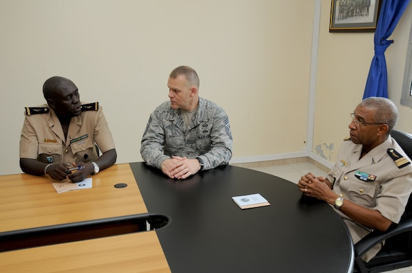 Chief Master Sgt. of the Air Force James A. Roy meets with the Senegalese air force's top leaders during an office call Oct. 15, 2010, in Dakar, Senegal. He discussed enlisted force development with their adjutant chief, Warrant Officer 1 Babacar Ndiaye (left) and chief of staff, Col. Alain Pereira. This was his third stop on a visit to Africa. (U.S. Air Force photo/Master Sgt. Jim Fisher)