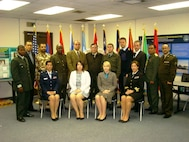 Class photo, Defense Institute for Medical Operations (DIMO) Executive Healthcare Resource Management course; Brooks City-Base, TX, April 2010.  (US Air Force Photo)